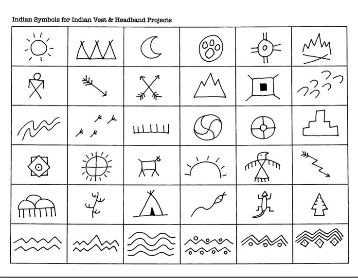Indian Symbols for Indian Vest & Headband Projects