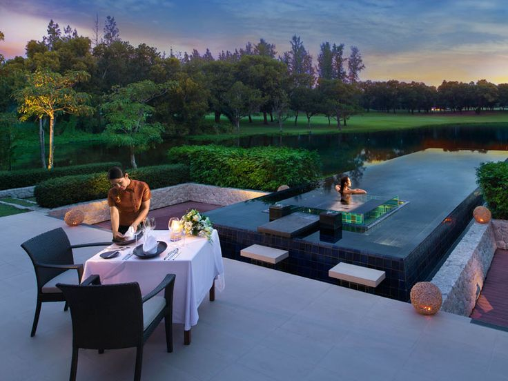 Take in this magnificent view whilst dining at your private villa. DoublePool Villas by Banyan Tree, Thailand  www.islandescapes.com.au
