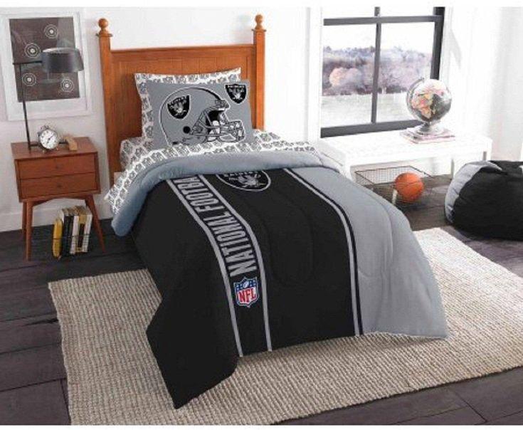 NFL Oakland Raiders Comforter Twin Set Sports Patterned Bedding Team Logo Fan Merchandise Team Spirit Football Themed National Football League Black