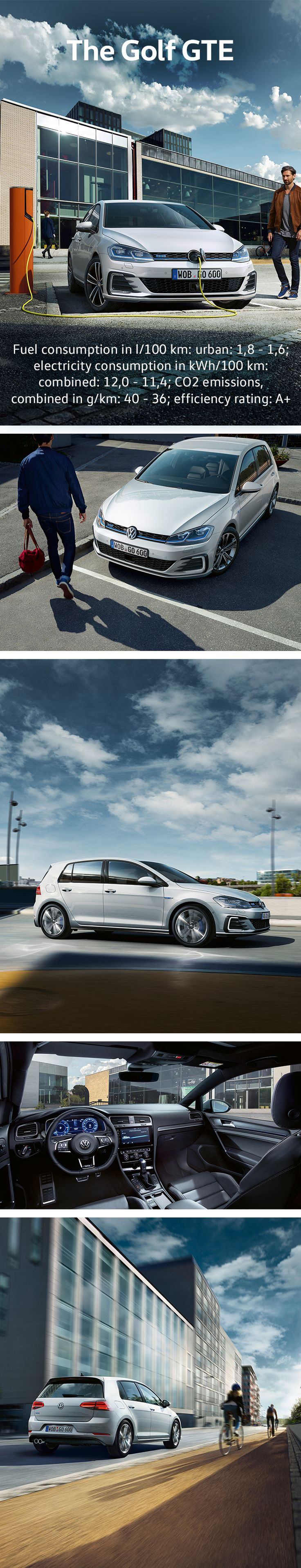 The new Golf GTE is agile and extremely elegant. The sleek front of this Volkswagen plug-in hybrid model with its closed radiator grille and blue trim strip is synonymous with agility and aerodynamics. It's sporty tail end further emphasizes its dynamic character.