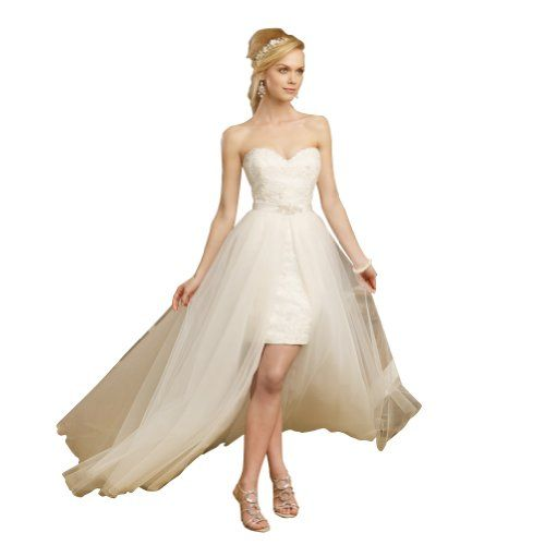 GEORGE BRIDE High Low Strapless Sweetheart All Over Lace Detached Train Wedding Dress for only $198.00