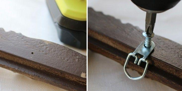 Repurposing vintage picture frames. DIY: Drilling hole for d-ring hardware on back of vintage plastic picture frame, Remodelista