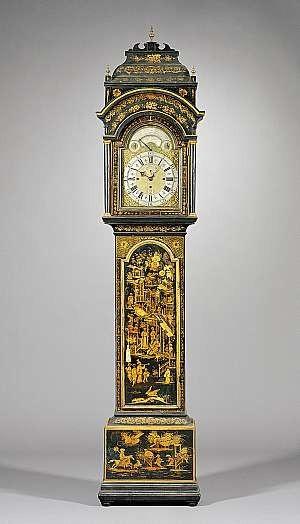 An impressive Japanned quarter-striking and musical longcase clock made in England by Joseph Eayre circa 1765