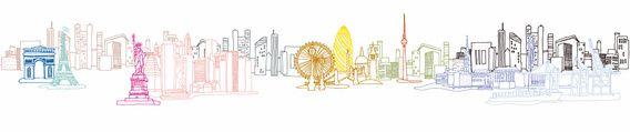 City Art - Illustratie van wereldberoemde winkelsteden samengevoegd in 1 beeld, waaronder Londen, New York, Parijs, Barcelona, Toronto, Istanbul, Berlijn, etc