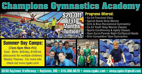 By 20% OFF 1st months tuition at Champions Gymnastics Academy!! Get your kids active, engaged and having fun while interacting with kids their age :)  // For more family resources visit www.ifamilykc.com :)