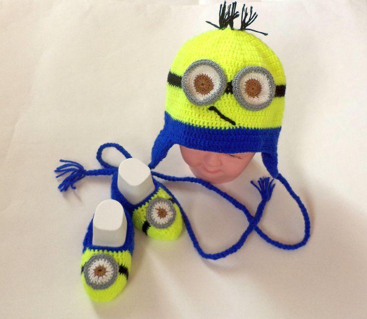 Excited to share the latest addition to my #etsy shop: Crochet Earflap Hat MINION Newborn Hospital 03-06 months.crochet minion hat baby Newborn Photo PropBabyHandCrochetDespicable Me Minion Hat http://etsy.me/2tuZMJ9 #aksessuary #apka #sinij #denrodena #rodestvo #eltyj