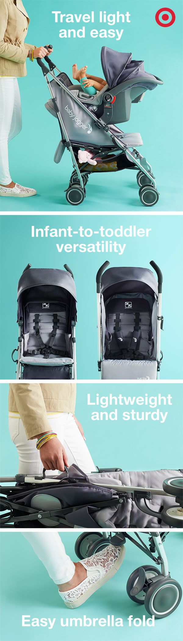 Revolutionary and sleek, the Vue Lite umbrella stroller by Baby Jogger is a Mom's Registry Pick. The innovative seat reclines and rotates to allow Baby to see you or the world around them. When you're done, the one-hand fold and carrying handle make transporting this stroller a breeze.