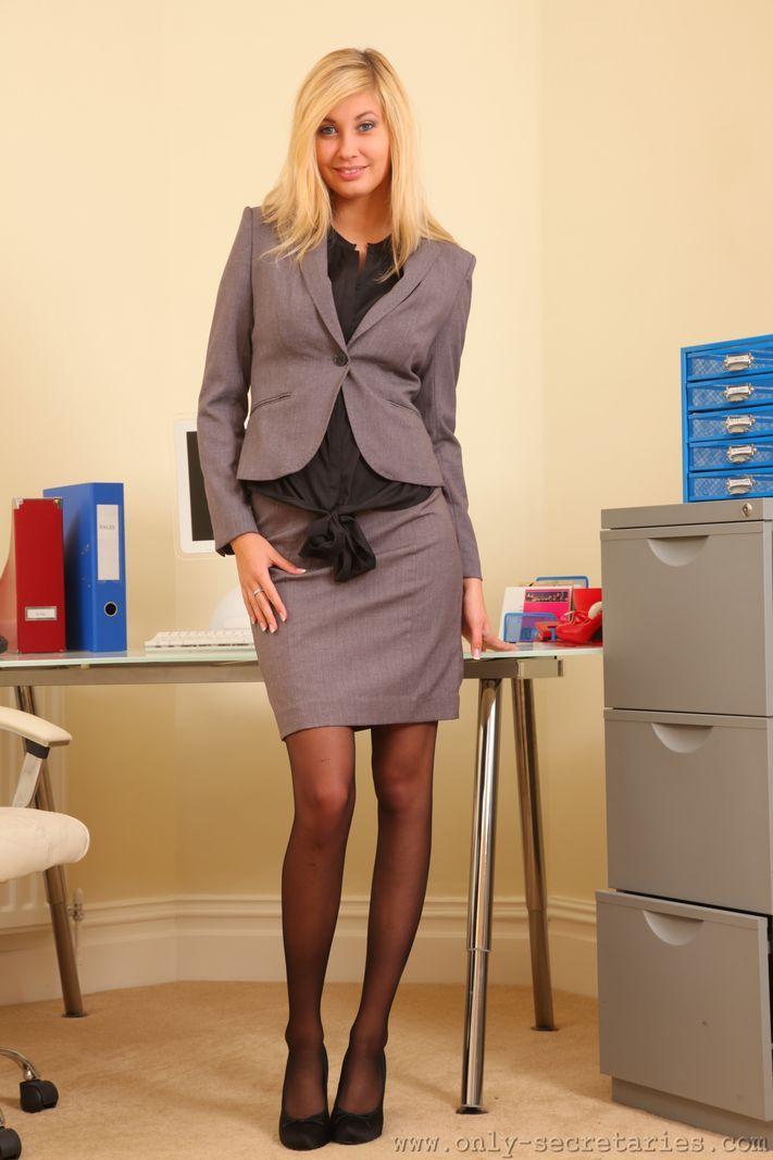 Only secretaries long legged blonde barka in black stockings picture