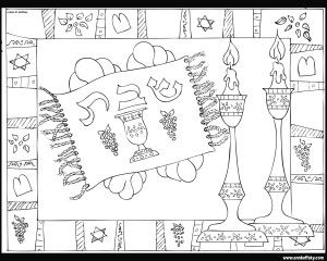 Shabbat coloring page by Ann D. Koffsky