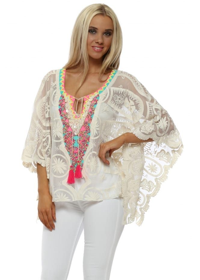 a173692d1ec29c Sheer Cream Lace Neon Beaded Batwing Top