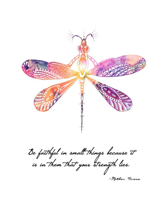 Mother Teresa Quote Dragonfly  8x10 Metallic by LeslieSabella, $20.00