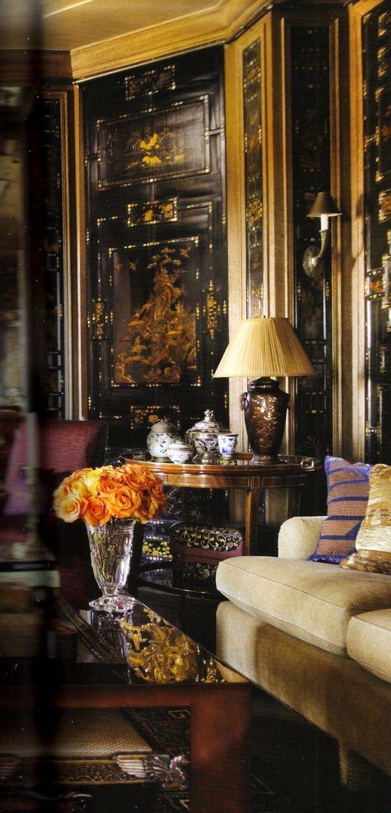 -Beautiful orange roses in a classic interior