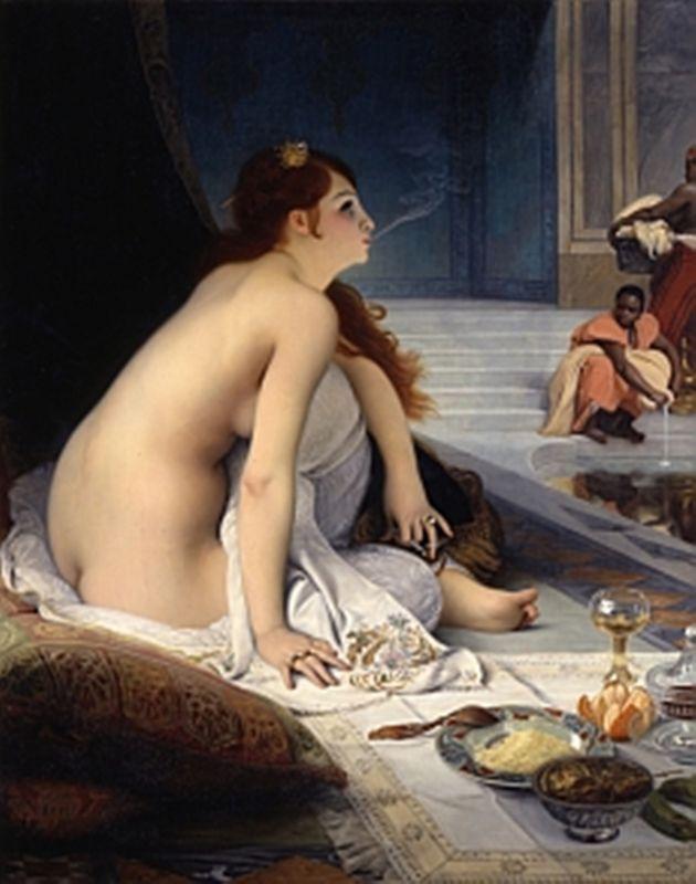 """Jean-Jules-Antoine LECOMTE DU NOUY , L'esclave blanche 1888, MBA Nantes, NOT """" DELACROIX Eugene Ferdinand Victor - French (Saint-Maurice-en-Chalencon 1798 - 1863 Parijs)"""""""