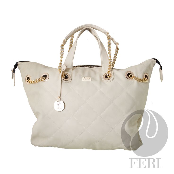 "FERI Day2Day - Missy - Purse - White - Oversized faux leather purse - Tip stitched quilting - Gold toned chain and leather shoulder strap with PU leather handles - Full zippered opening - Custom FERI lining with zippered pouch and cellphone pockets - Dimension: 18.90"" x 15.75"" x 5.91""  www.gwtcorp.com/ghem or email fashionforghem.com for big discount fashionforghem.blogspot.com"