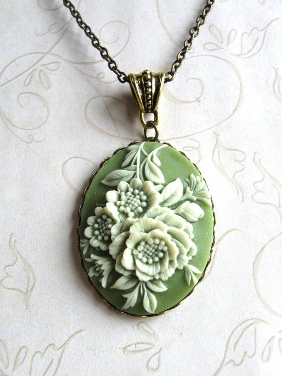 Vintage Green Cameo Necklace  - botanicalbird