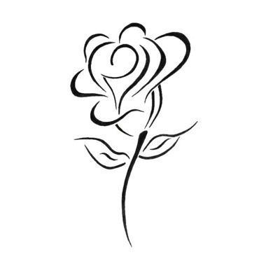 Rose black line tattoo - I would actually like to use this as a visual guide for painting a t-shirt.