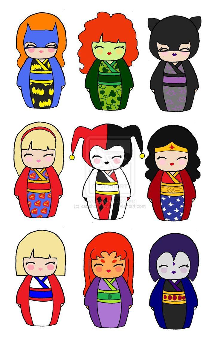 DC Kokeshi by kaoshoneybun on deviantART  Kokeshi dolls, Kokeshi
