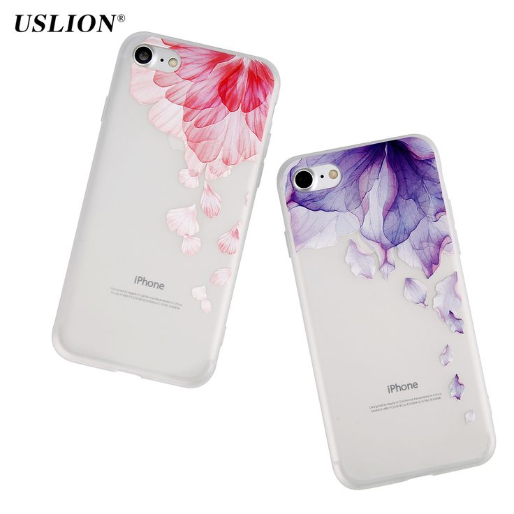 Cheap case for iphone, Buy Quality phone cases directly from China case plus Suppliers: USLION Phone Case For iPhone 7 7 Plus Luxury Ultrathin Watercolor Petal Cases Transparent Soft TPU Back Cover Fundas Capa