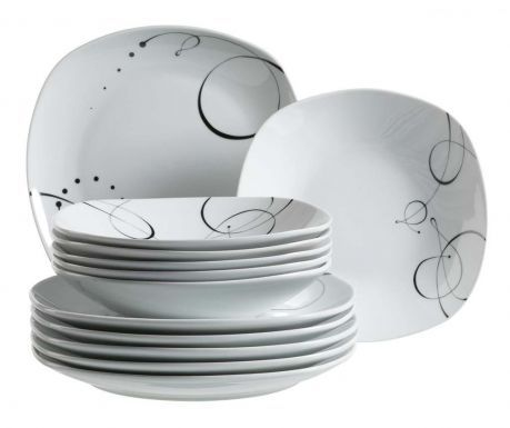 Set 12 farfurii pentru cina Black Detail