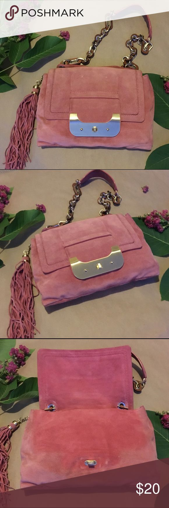 DVF Suede Harper Shoulder Bag Pre-loved DVF handbag. Bag needs cleaning & there is also fading as shown in the photos. Hardware has no scratches. Please comment if you have any questions. Diane von Furstenberg Bags Shoulder Bags