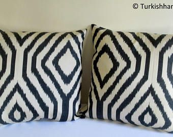 Set of 2 / Silk Ikat Pillow Cover, Hand Woven Ikat Pillow Cover, Handmade Pillow Cover, Colorfull Ikat Pillow Cover, Silk Uzbek Pillow Cover