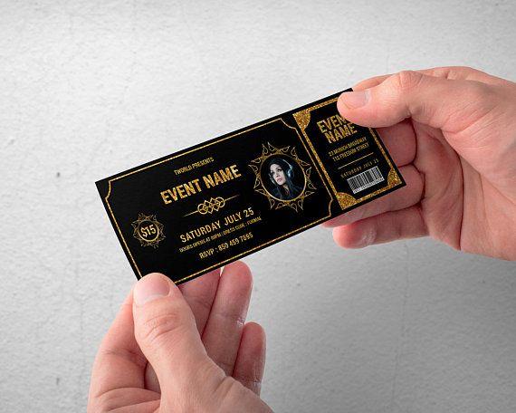 Gold Event Ticket Invitation Birthday Ticket Invite Wedding Ticket Invite Gala Invitation Church Ticket Gold And Black Ticket Ticket Design Event Tickets Design Ticket Invitation Birthday