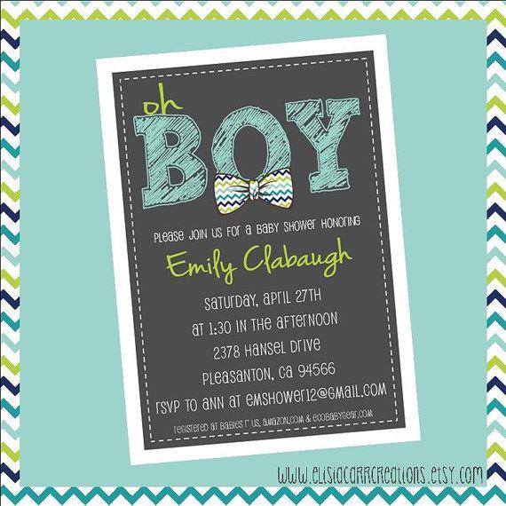 "PRINTABLE PDF - ""Oh BOY"" Chevron Bowtie Baby Shower Invitation - Sip & See Party Invites"