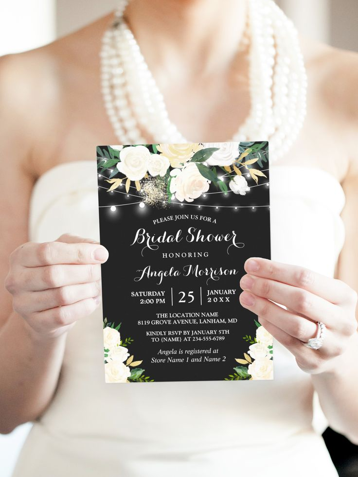 recipe themed bridal shower invitation wording%0A Ivory Botanical Floral String Lights Bridal Shower Card