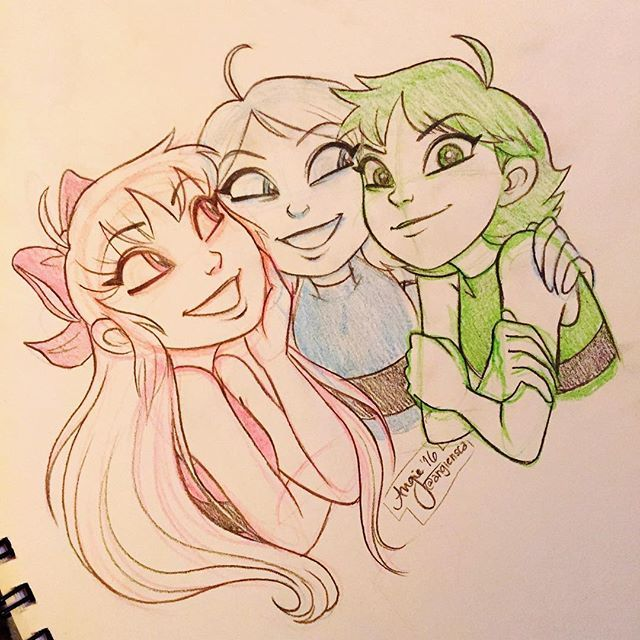 Found some time to draw for myself!  Here's a quick sketch of my favorite girls to celebrate the PPG reboot! Words can't describe how excited I am for this #angiensca #fanart #powerpuffgirls
