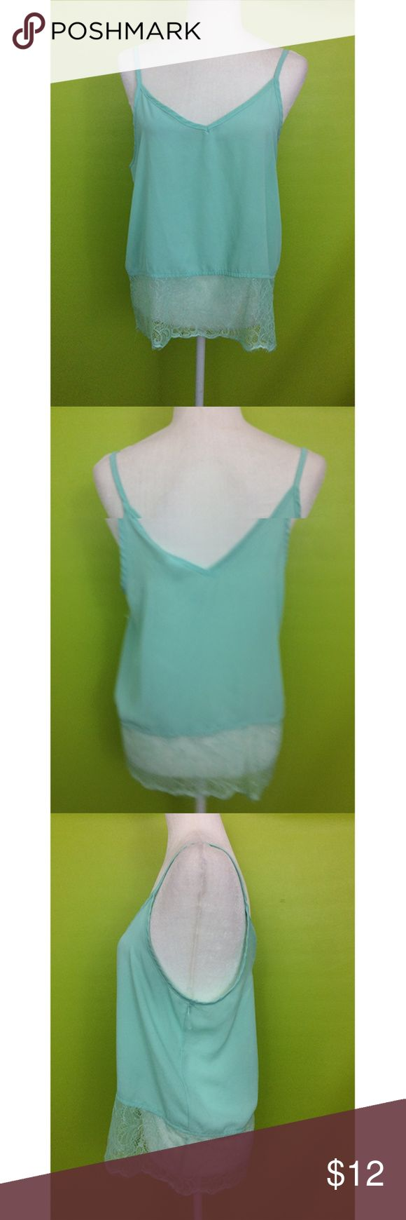 "Gracie Spaghetti Lace Hem Mint Cami Top M B291  Top  Bust - 40"" Length - 24""  Gracie Spaghetti Sleeves Wide V Neck  Laced Hem Mint Green Cami Top Size Medium  Free shipping on orders over $75 Tops Camisoles"