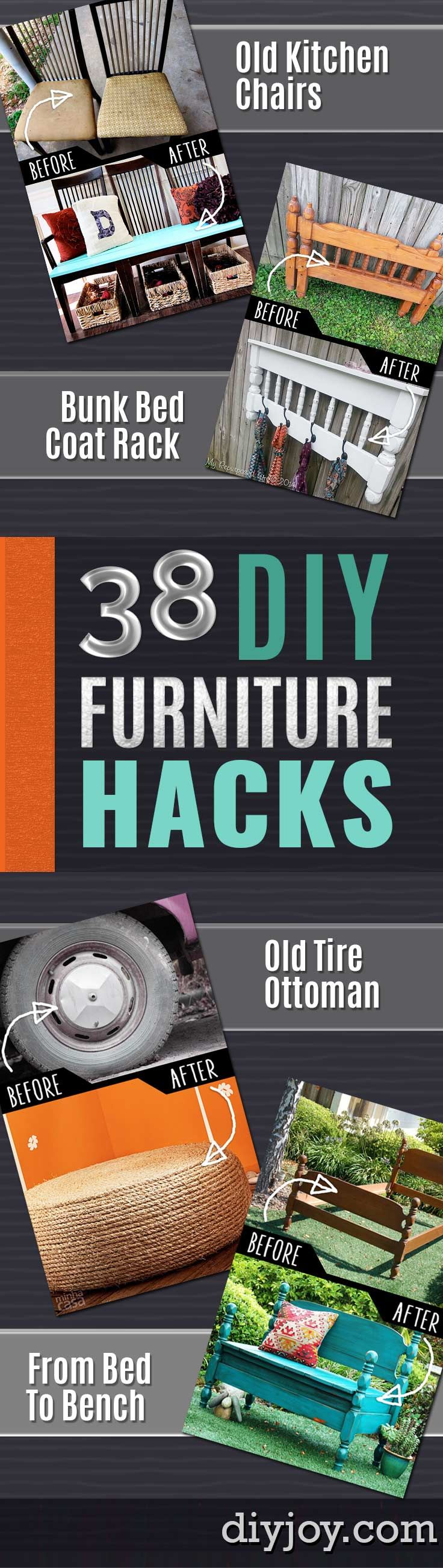 DIY Furniture Hacks | Cool Ideas for Creative Do It Yourself Furniture Made From Things You Might Not Expect | Repurpose and Upcycling Ideas for Home Decor, Bedroom, Bath and Patio http://diyjoy.com/diy-furniture-hacks