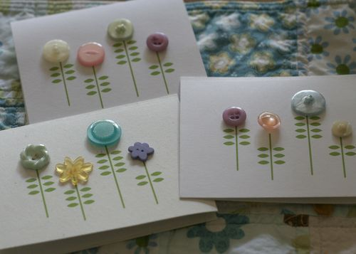 homemade button cards :): Button Flowers, Flowers Cards, Buttons Flowers, Homemade Buttons, Homemade Cards, Valentines Cards, Flower Cards, Buttons Cards, Button Cards