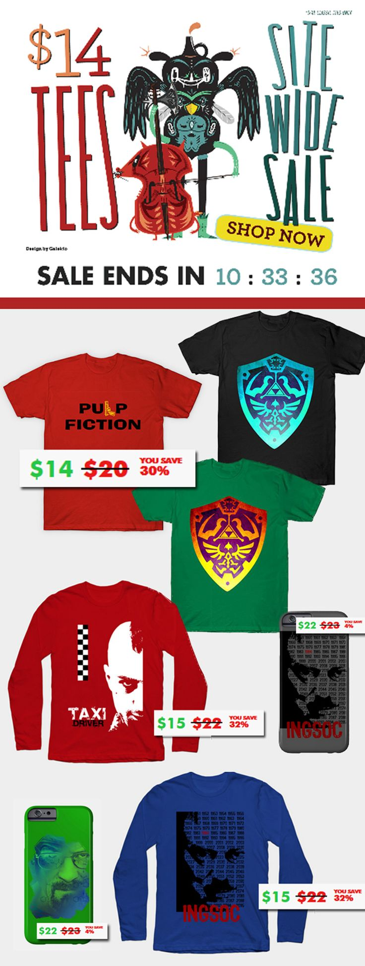 All T-Shirts $14 !!! Big Sales on All Products! #movietshirts #film  #iphonecases #longsleevetshirts #xmasgifts #christmasgifts #cinematshirts #art #fashion #style #online #shopping #tshirt #breakingbad #pulpfiction #cinema #movies #giftsforhim #thelegendofzelda #thelegendofzeldatshirt #sales #tshirts #discount #save #zeldatshirt #39 #zeldashield #style #fashion #family #gifts #giftsforhim #giftsforher #gamingtshirt #gamertshirt #videogame #geek #nerd #onlineshopping #teepublic