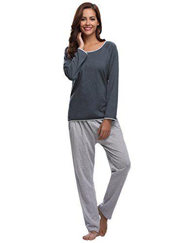1525837ae9b86a Aibrou Damen Pyjama Schlafanzug Hausanzug Baumwolle Lang Nachtwäsche  Nachthemd Dunkelblau XL