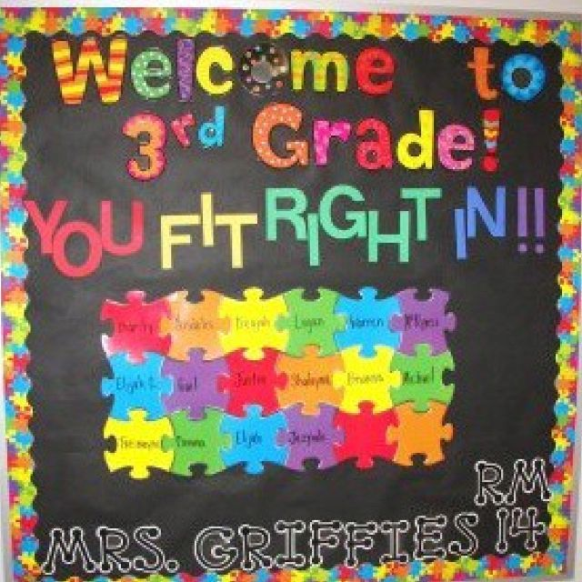 Welcome to 3rd grade. you fit right in. puzzle theme bulletin board--- obsessed!! So colorful & cute