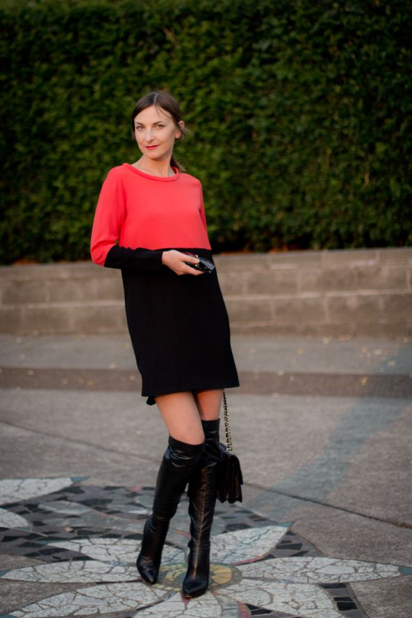 Black and red dress with over the knee boots.