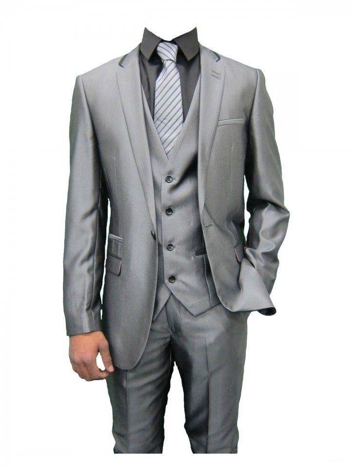 Mens Shiny Grey designer Three Piece Suit with Black trim