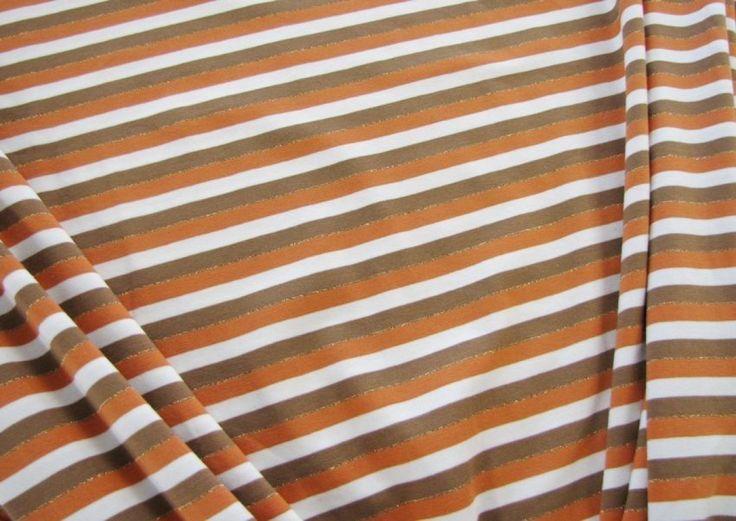 JERSEY STREIFEN Lurex Orange/Braun