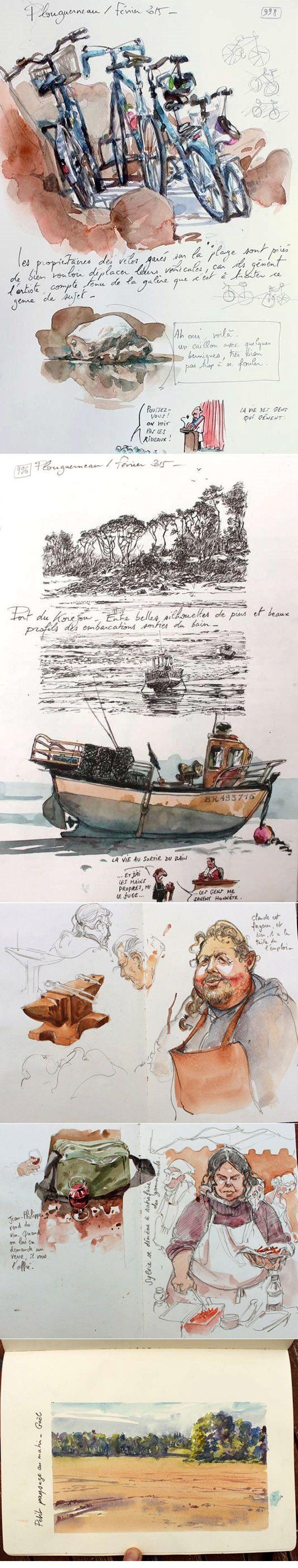 Yann Lesacher  #watercolor  #sketch    http://yal.over-blog.com/page/1