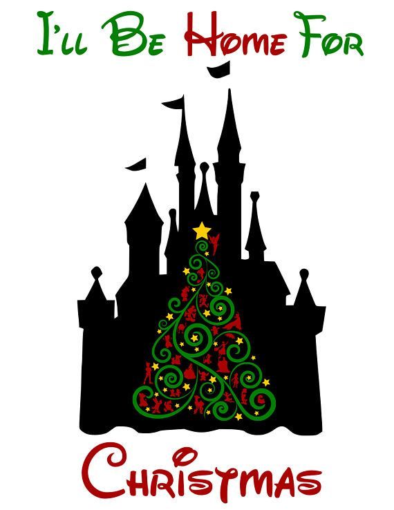 Disney Castle Christmas Svg.I Ll Be Home For Christmas Disney Castle Svg Pdf Png