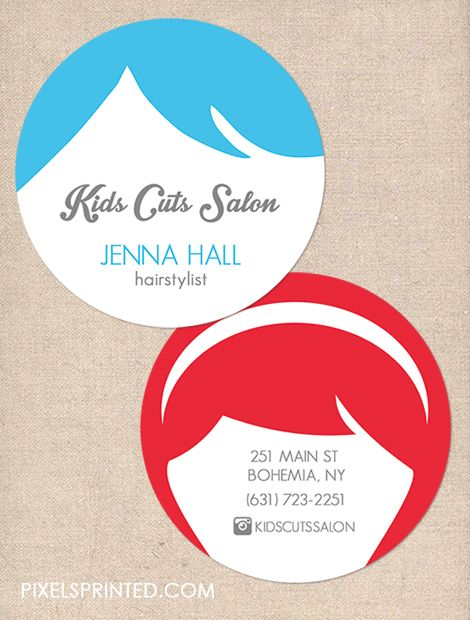 hairstylist business cards, unisex hair salon business cards, children hair cuts business cards, round hairstylist business cards