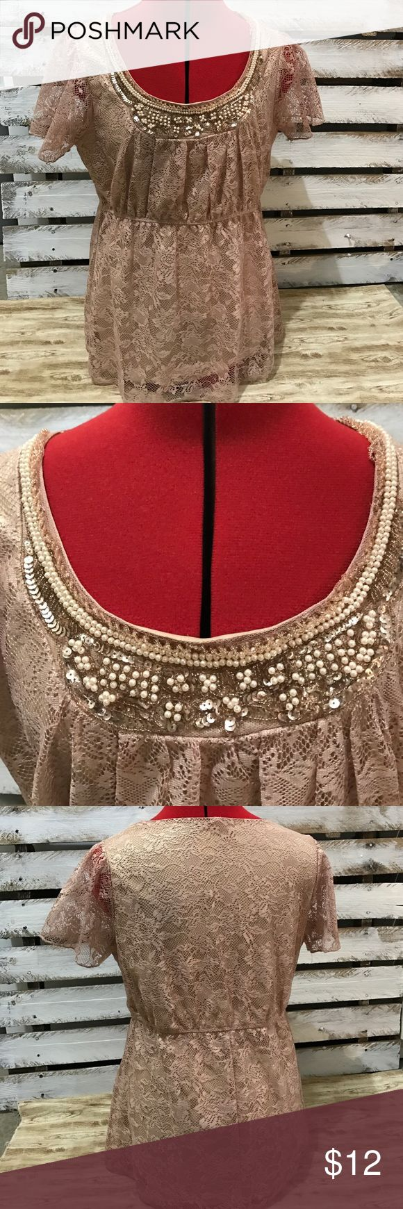 Studio Y Rose Gold Tee LARGE Astoundingly beaiftul rose gold lace tee with bead work. Excellent condition.  Cinched waist. Studio Y Tops Tees - Short Sleeve
