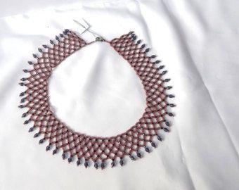 Purple collar necklace, folk motifs, Hungarian Folk, individual, special, elegant, handmade, bead work,
