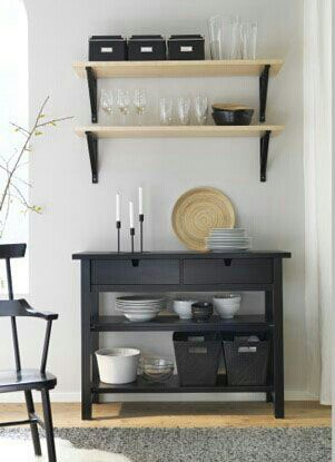Ikea idea - for my pantry. Norden black sideboard Ekby Jarpen/Valter birch shelf