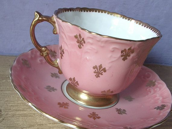 Antique pink tea cup and saucer vintage 1930's by ShoponSherman,
