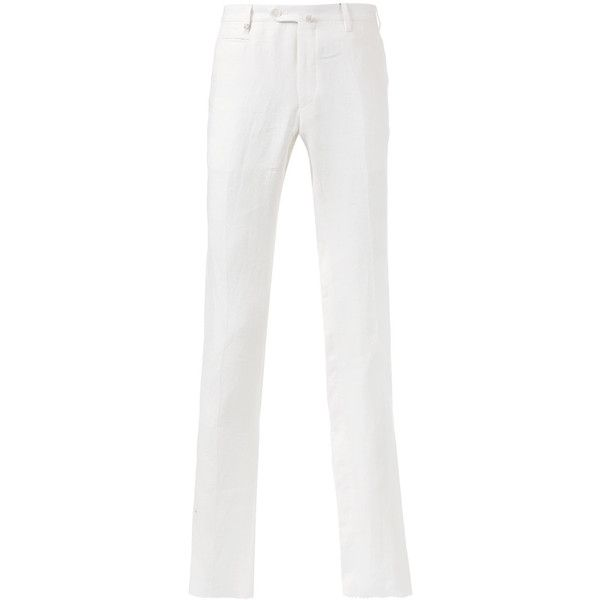 Corneliani Tapered Trousers (14,625 INR) ❤ liked on Polyvore featuring men's fashion, men's clothing, men's pants, men's casual pants, mens casual linen pants, mens linen pants, mens tapered pants, mens white pants and mens white linen pants