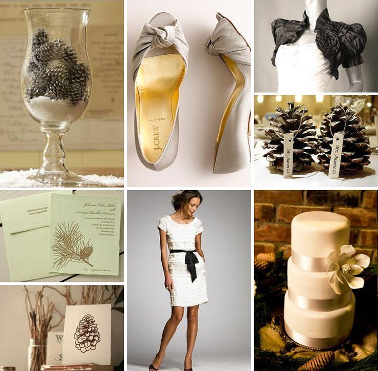 #winter, Pine Cone #Wedding #Inspiration #color