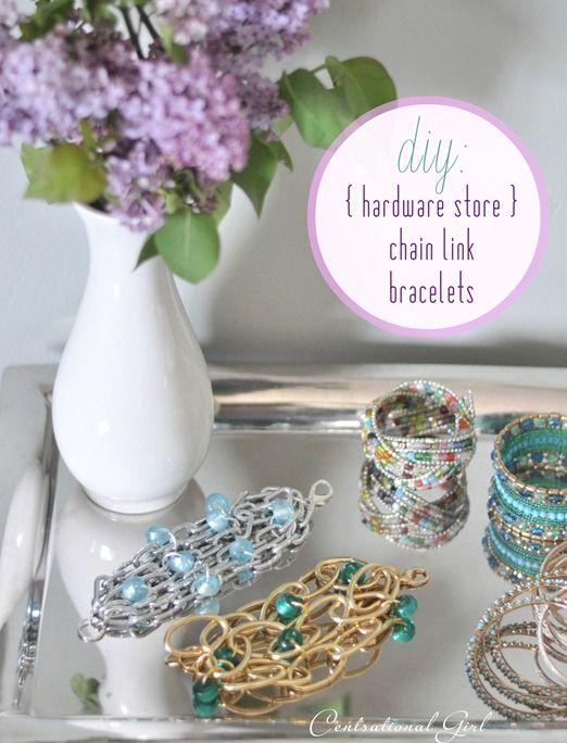 diy {hardware store} chain link bracelets