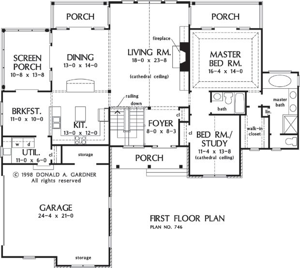 First Floor Plan of The Vandenberg - House Plan Number 746-D.  In place of breakfast nook replace with mud room/ e-space.