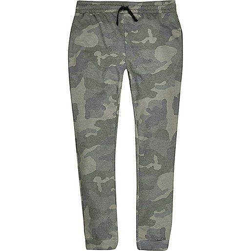 Kaki joggingbroek met camouflageprint - joggingbroeken - heren